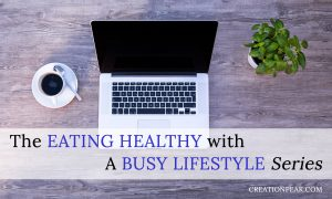 eating healthy with a busy lifestyle series image of laptop, coffee, basil plant