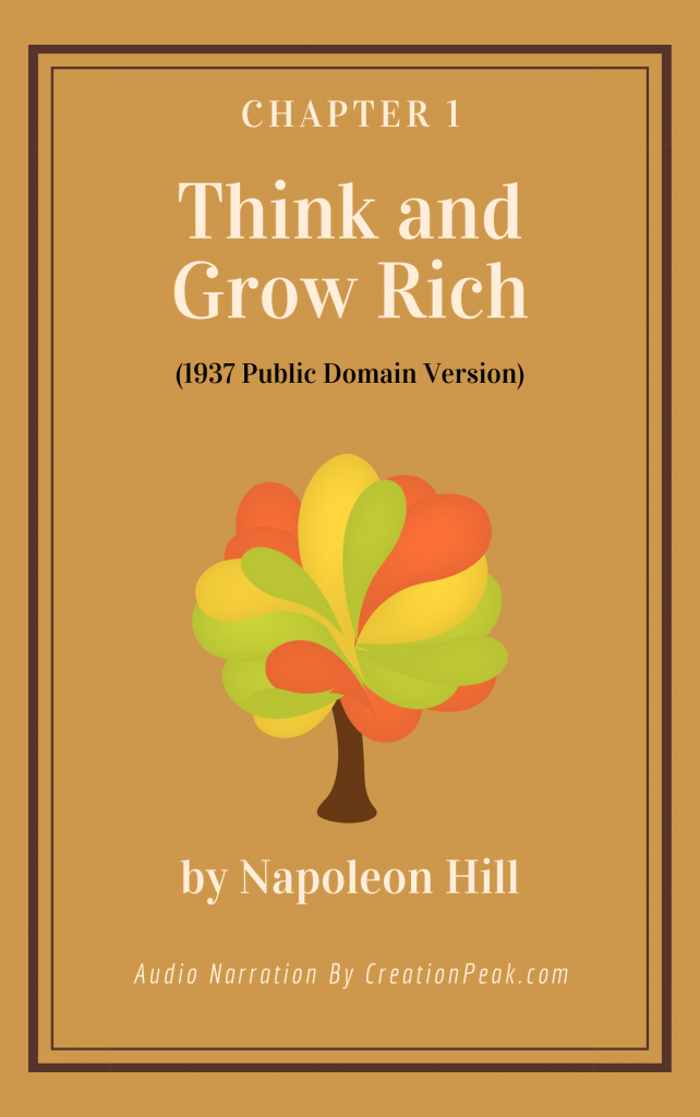 Entrepreneurial Mindset and Self Care, Chapter 1 of Think and Grow Rich book cover