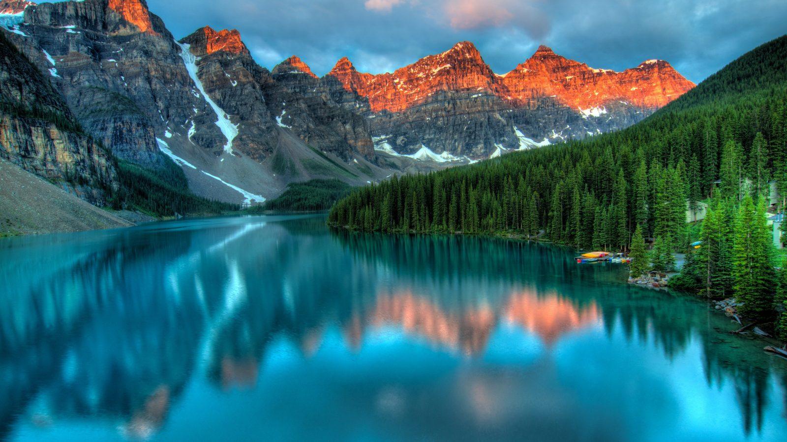 peaceful lake and mountain scene
