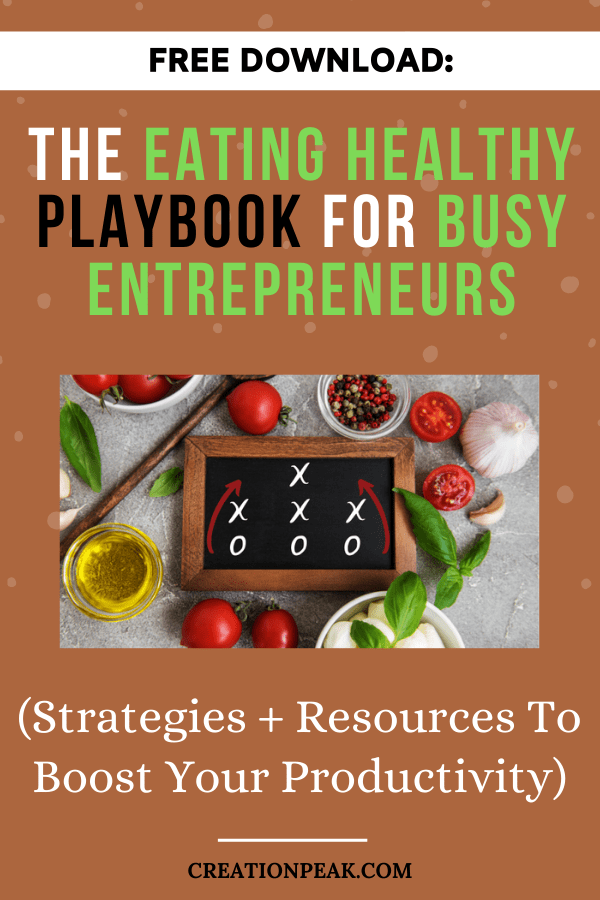 The Eating Healthy Playbook for Busy Entrepreneurs Pinterest image